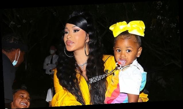 Cardi B & Offset Rock Matching Yellow Outfits With Daughter Kulture, 1, For Teyana Taylor's Album Party