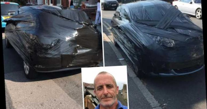 Fed-up homeowner wraps neighbour's car in cellophane after she blocked his driveway