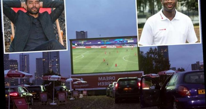 Ashley Cole and Yaya Toure watch Bayern Munich's Champions League semi-final win at incredible drive-in cinema