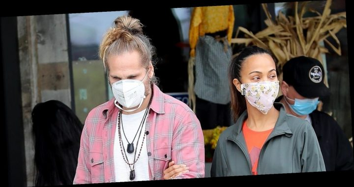 Zoe Saldana & Hubby Marco Perego Stay Safe While Grocery Shopping