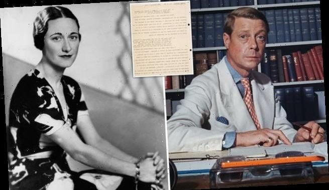 Edward VIII's letter lays bare Royal rift sparked by Wallis Simpson
