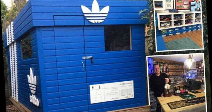 Trainer fanatic built his own Adidas shoebox bar in his garden to drink pints and watch football