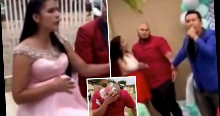 Brutal moment husband 'proves' his pregnant wife's baby isn't his at their BABY SHOWER & man she cheated with is there