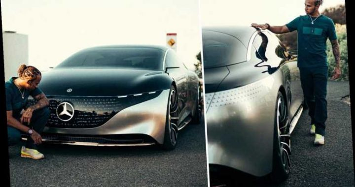 Lewis Hamilton shows off new £80k EQS fully electric Mercedes which goes 0-60mph in 4.5 secs and has holographic lights