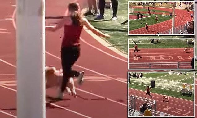 Dog makes late entry into Utah high school relay race and WINS