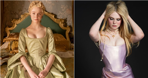 Elle Fanning Becomes a Modern Day Catherine the Great in This Liquid Metallic Corset