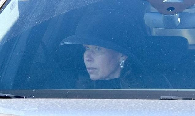 Sarah Chatto looks emotional at Windsor Castle after the funeral