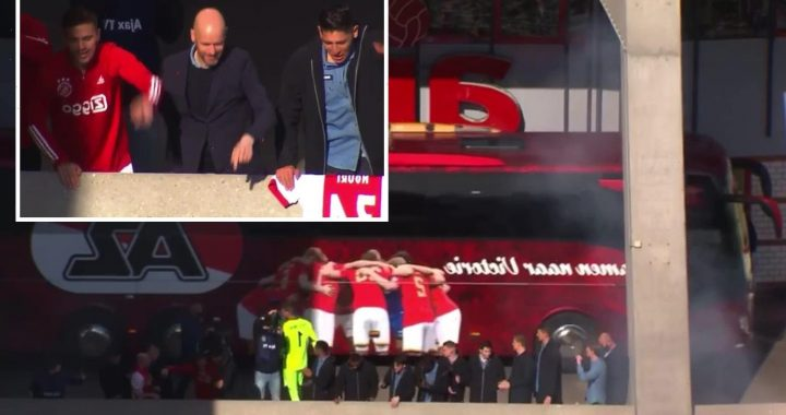 Watch awkward moment Ajax stars celebrate all-but winning title after AZ Alkmaar win while rivals' team bus drives by