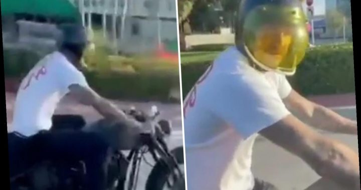David Beckham thrilled to be reunited with his $60k motorbike as he hits the road in Miami for sunset ride