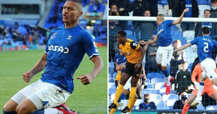 Everton 1 Wolves 0: Richarlison heads brilliant winner  to keep Toffees' European hopes alive in front of returning fans