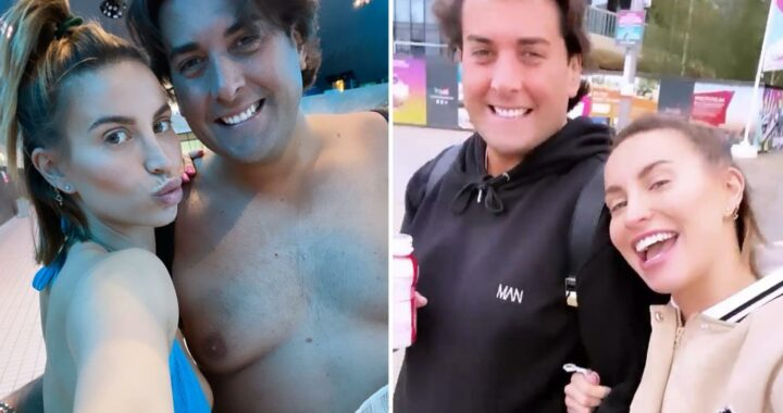 James Argent enjoys a day at the pool with Ferne McCann after revealing his four stone weight loss