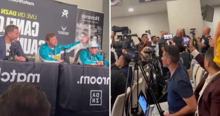 Watch Canelo Alvarez get confronted by Andrade during post-fight press conference as heated X-rated row breaks out