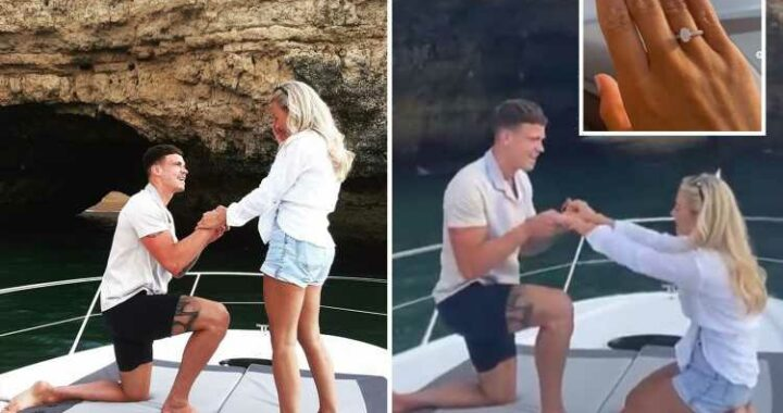 Ex On The Beach star Ashleigh Defty gets engaged to footballer Tom Broadbent on a yacht in Portugal