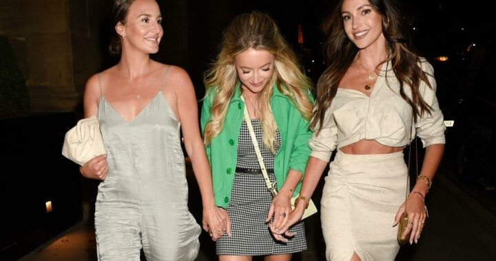 Michelle Keegan stuns in crop top and thigh-high split skirt on girls' night out