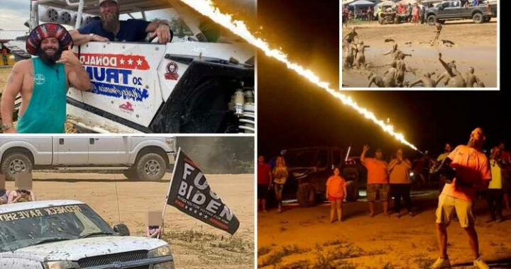 Redneck Rave in Kentucky descends into mayhem with 48 charged as man's throat is slit, woman is choked & man is IMPALED