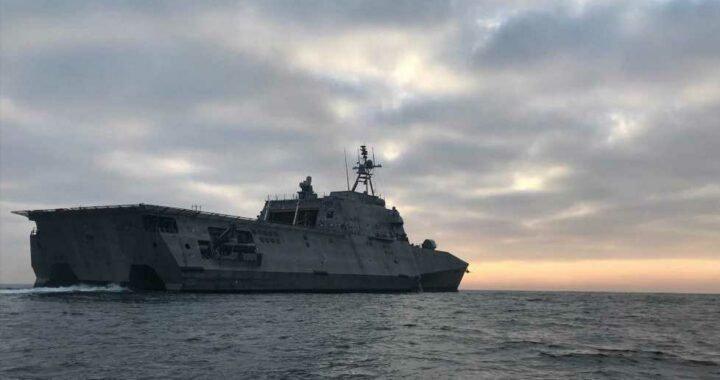 UFO video taken from deck of US Navy warship shows 'swarm of mystery craft brazenly buzzing vessel'
