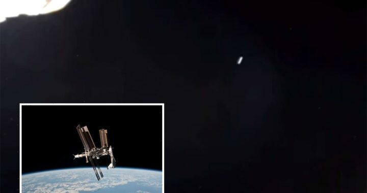 Bizarre 'cigar-shaped UFO' seen hurtling past International Space Station after 'craft' spotted on NASA live feed