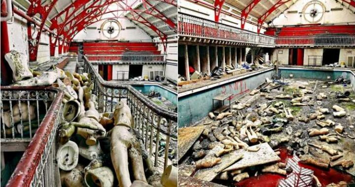 See inside eerie abandoned Glasgow school with creepy mannequins scattered around old swimming pool