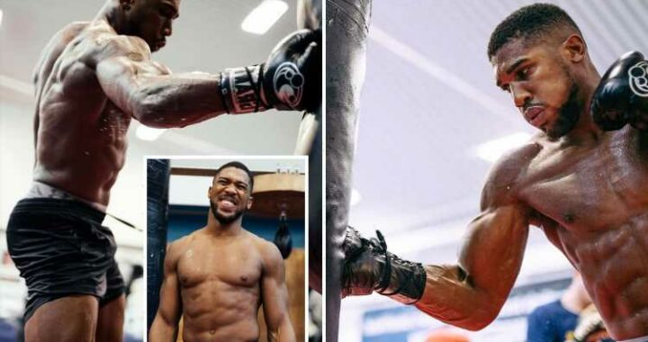 Anthony Joshua shows off new lean physique but biceps still bulging after weight cut before Oleksandr Usyk fight