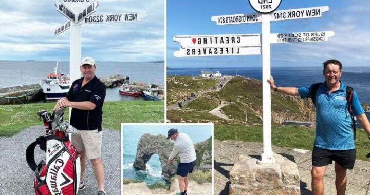Dad, 58, becomes first person to play golf the length of Britain
