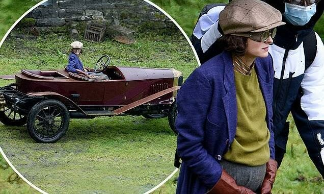 Emma Corrin is spotted filming Lady Chatterley's Lover in North Wales