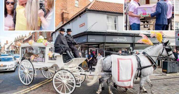 Girl, 2, who died in caravan park fire laid to rest in Peppa Pig coffin as devastated mum breaks down in tears