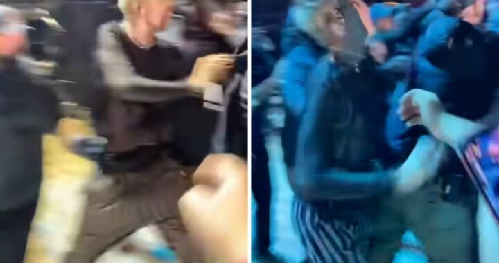 Machine Gun Kelly PUNCHES unruly fan after crowd storms stage and heckles him during Louder Than Life concert