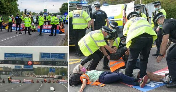 Travel chaos as Extinction Rebellion protesters BLOCK M25 and clash with drivers