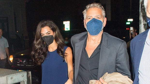 Amal Clooney Stuns In Blue Mini Dress With Long Train While Holding Hands With George  Photos