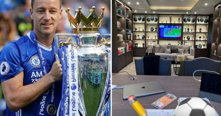 Inside Chelsea legend John Terry's incredible trophy room with wall-to-wall cabinet to display silverware