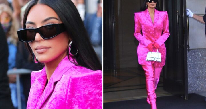 Kim Kardashian steps out for SNL rehearsals as she ditches usual black for PINK look just days before big host debut