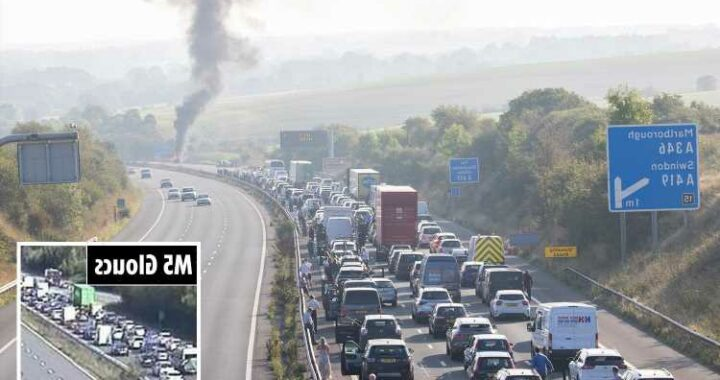 Motorway chaos as M4 brought to a standstill by fire and 'sinkhole' opens up on the M5 causing miles of tailbacks