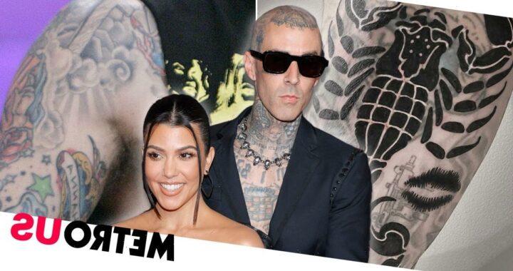 Travis Barker gets Kourtney Kardashian's lips tattooed to cover ex-wife's name